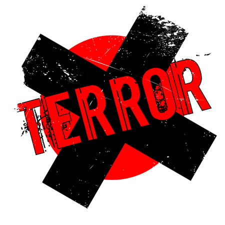 terrifying: Terror rubber stamp. Grunge design with dust scratches. Effects can be easily removed for a clean, crisp look. Color is easily changed.
