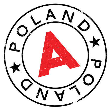 Poland rubber stamp. Grunge design with dust scratches. Effects can be easily removed for a clean, crisp look. Color is easily changed.