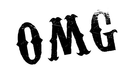 abbreviated: Omg rubber stamp. Grunge design with dust scratches. Effects can be easily removed for a clean, crisp look. Color is easily changed.