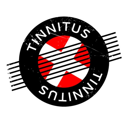 Tinnitus rubber stamp. Grunge design with dust scratches. Effects can be easily removed for a clean, crisp look. Color is easily changed.