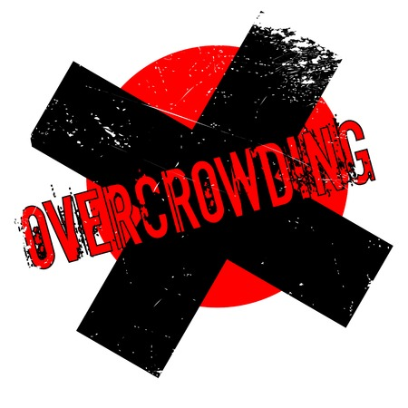 overcrowding: Overcrowding rubber stamp. Grunge design with dust scratches. Effects can be easily removed for a clean, crisp look. Color is easily changed.