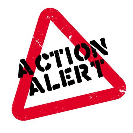Action Alert rubberzegel. Grunge ontwerp met stof krassen. Effecten kunnen gemakkelijk worden verwijderd voor een schone, frisse uitstraling. Kleur is gemakkelijk te veranderen. Stock Illustratie