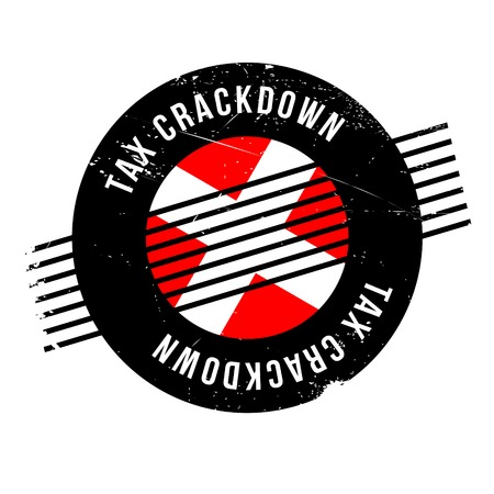 Tax Crackdown rubber stamp. Grunge design with dust scratches. Effects can be easily removed for a clean, crisp look. Color is easily changed. Illustration