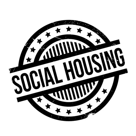 Social Housing rubber stamp. Grunge design with dust scratches. Effects can be easily removed for a clean, crisp look. Color is easily changed. Illustration
