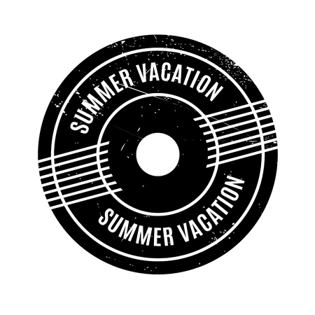 Summer Vacation rubber stamp. Grunge design with dust scratches. Effects can be easily removed for a clean, crisp look. Color is easily changed. Illustration