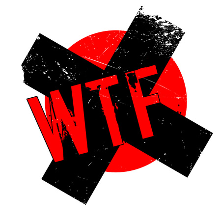 Wtf rubber stamp. Grunge design with dust scratches. Effects can be easily removed for a clean, crisp look. Color is easily changed.