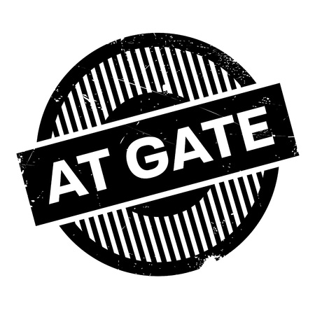 loophole: At Gate rubber stamp. Grunge design with dust scratches. Effects can be easily removed for a clean, crisp look. Color is easily changed.