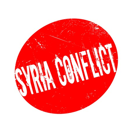 Syria Conflict rubber stamp. Grunge design with dust scratches. Effects can be easily removed for a clean, crisp look. Color is easily changed. Ilustração