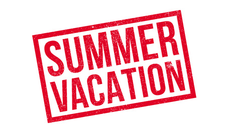 intermission: Summer Vacation rubber stamp. Grunge design with dust scratches. Effects can be easily removed for a clean, crisp look. Color is easily changed. Illustration