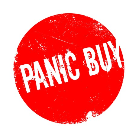 stockpile: Panic Buy rubber stamp. Grunge design with dust scratches. Effects can be easily removed for a clean, crisp look. Color is easily changed. Illustration