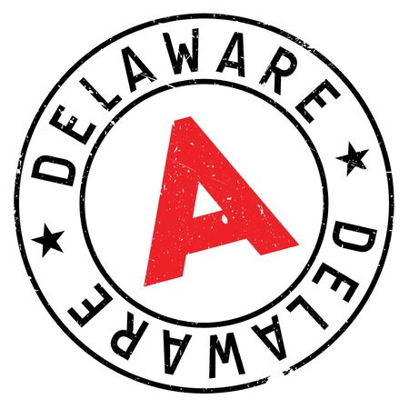 Delaware rubber stamp. Grunge design with dust scratches. Effects can be easily removed for a clean, crisp look. Color is easily changed. Illustration