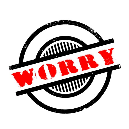 apprehension: Worry rubber stamp. Grunge design with dust scratches. Effects can be easily removed for a clean, crisp look. Color is easily changed.