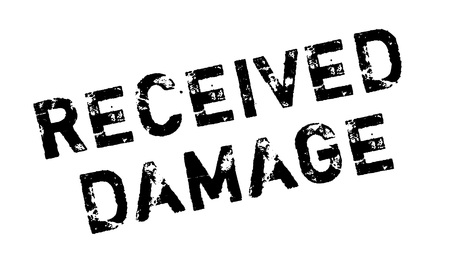assumed: Received Damage rubber stamp. Grunge design with dust scratches. Effects can be easily removed for a clean, crisp look. Color is easily changed. Illustration