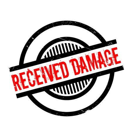 outrage: Received Damage rubber stamp. Grunge design with dust scratches. Effects can be easily removed for a clean, crisp look. Color is easily changed. Illustration