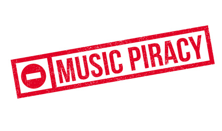 plagiarism: Music Piracy rubber stamp. Grunge design with dust scratches. Effects can be easily removed for a clean, crisp look. Color is easily changed.