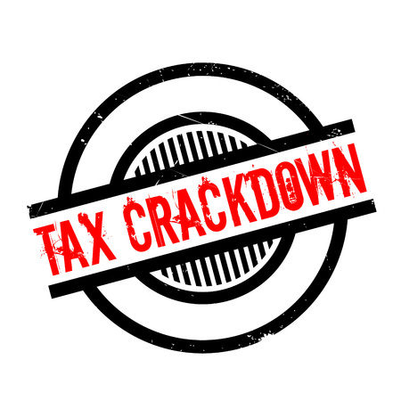 levy: Tax Crackdown rubber stamp. Grunge design with dust scratches. Effects can be easily removed for a clean, crisp look. Color is easily changed. Illustration