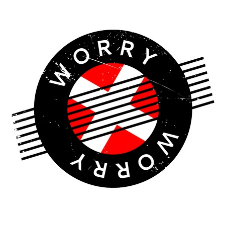 Worry rubber stamp. Grunge design with dust scratches. Effects can be easily removed for a clean, crisp look. Color is easily changed.