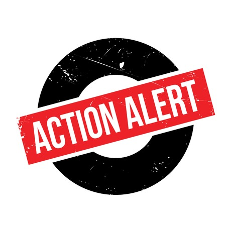 Action Alert rubber stamp. Grunge design with dust scratches. Effects can be easily removed for a clean, crisp look. Color is easily changed. Illustration