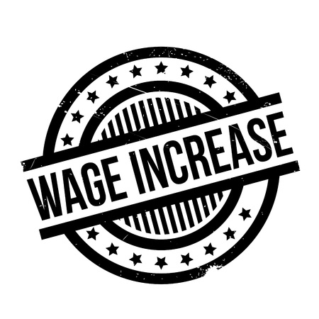 pay raise: Wage Increase rubber stamp. Grunge design with dust scratches.