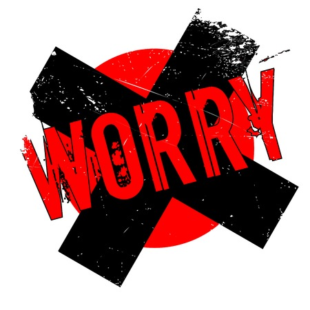 apprehension: Worry rubber stamp. Grunge design with dust scratches. Illustration