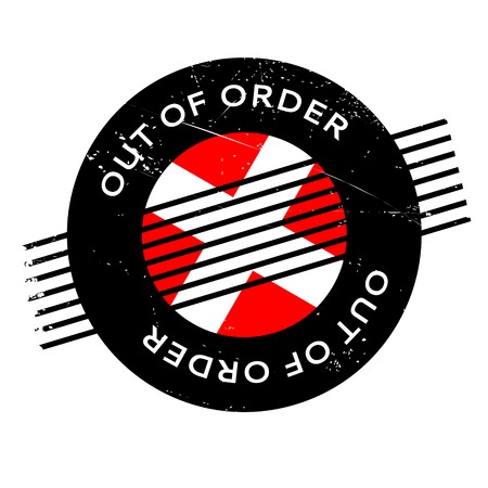 Out Of Order rubber stamp. Grunge design with dust scratches.