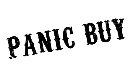 stockpile: Panic Buy rubber stamp. Grunge design with dust scratches.