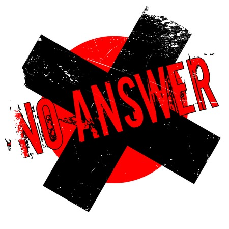 plea: No Answer rubber stamp. Grunge design with dust scratches.