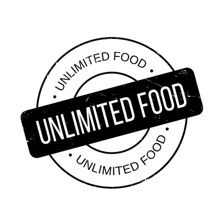 incomprehensible: Unlimited Food rubber stamp. Grunge design with dust scratches. Effects can be easily removed for a clean, crisp look. Color is easily changed. Illustration