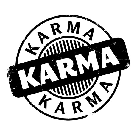 nirvana: Karma rubber stamp. Grunge design with dust scratches. Effects can be easily removed for a clean, crisp look. Color is easily changed.