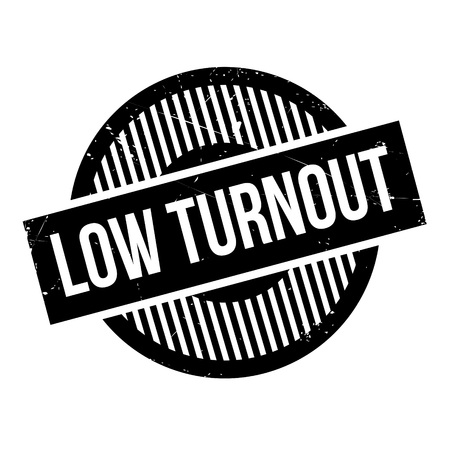 turnout: Low Turnout rubber stamp. Grunge design with dust scratches. Effects can be easily removed for a clean, crisp look. Color is easily changed. Illustration