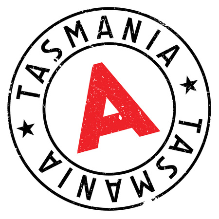 Tasmania rubber stamp. Grunge design with dust scratches. Effects can be easily removed for a clean, crisp look. Color is easily changed. Illustration