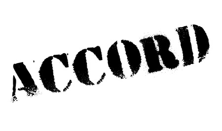 Accord rubber stamp. Grunge design with dust scratches. Effects can be easily removed for a clean, crisp look. Color is easily changed.