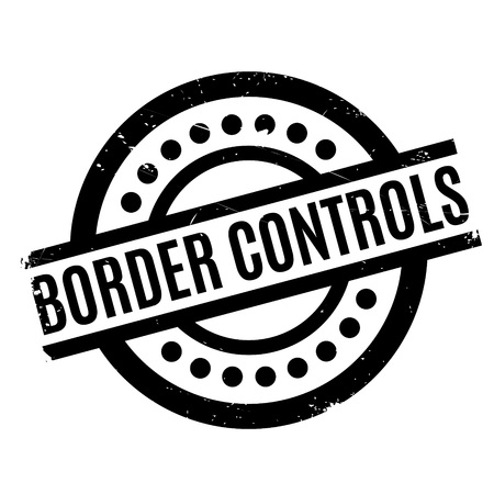 Border Controls rubber stamp. Grunge design with dust scratches. Effects can be easily removed for a clean, crisp look. Color is easily changed.