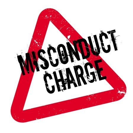 Misconduct Charge rubber stamp. Grunge design with dust scratches. Effects can be easily removed for a clean, crisp look. Color is easily changed. Illustration
