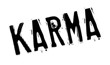 Karma rubber stamp. Grunge design with dust scratches. Effects can be easily removed for a clean, crisp look. Color is easily changed.