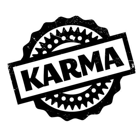 Karma sello de goma. Diseño de grunge con rasguños de polvo. Los efectos se pueden quitar fácilmente para un aspecto limpio y nítido. El color se cambia fácilmente.