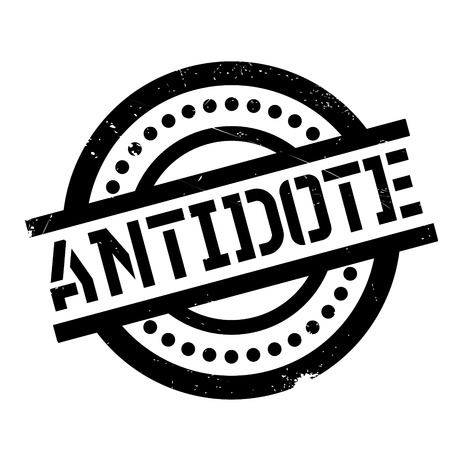 Antidote rubber stamp. Grunge design with dust scratches. Effects can be easily removed for a clean, crisp look. Color is easily changed.