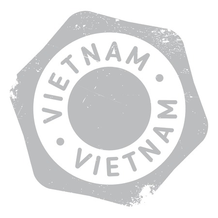 indochina peninsula: Vietnam rubber stamp. Grunge design with dust scratches. Effects can be easily removed for a clean, crisp look. Color is easily changed.
