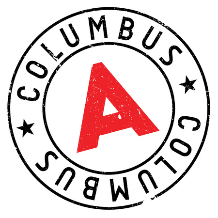Columbus stamp. Grunge design with dust scratches. Effects can be easily removed for a clean, crisp look. Color is easily changed.