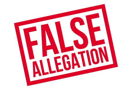 False Allegation rubber stamp. Grunge design with dust scratches. Effects can be easily removed for a clean, crisp look. Color is easily changed. Stock Photo