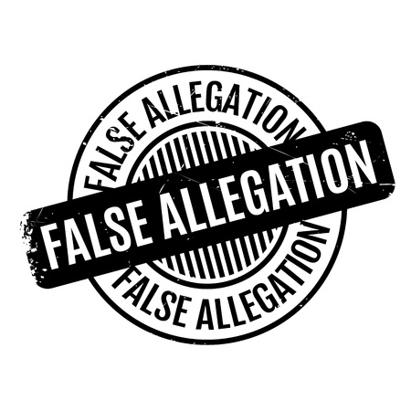 allegation: False Allegation rubber stamp. Grunge design with dust scratches. Effects can be easily removed for a clean, crisp look. Color is easily changed. Stock Photo