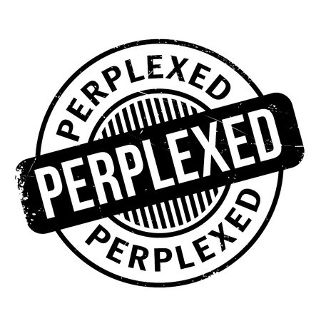 Perplexed rubber stamp. Grunge design with dust scratches. Effects can be easily removed for a clean, crisp look. Color is easily changed.
