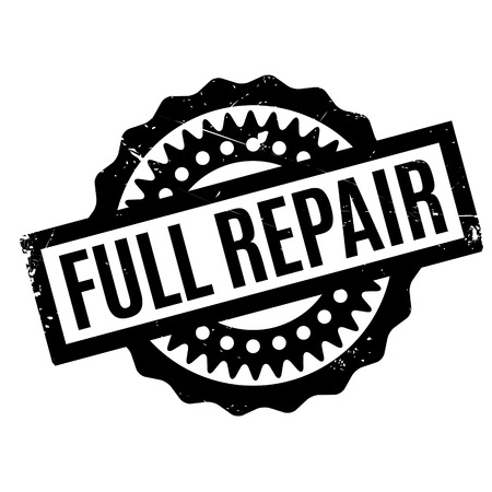 revive: Full Repair rubber stamp. Grunge design with dust scratches. Effects can be easily removed for a clean, crisp look. Color is easily changed. Illustration