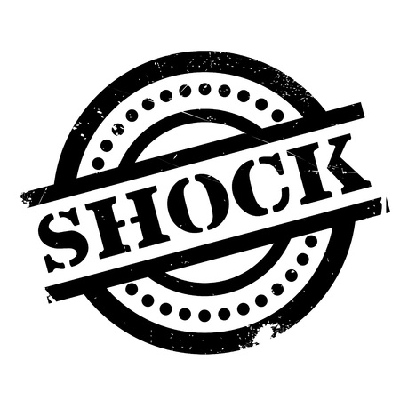 Shock rubber stamp. Grunge design with dust scratches. Effects can be easily removed for a clean, crisp look. Color is easily changed.