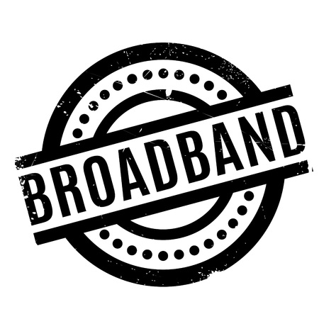 Broadband rubber stamp. Grunge design with dust scratches. Effects can be easily removed for a clean, crisp look. Color is easily changed. Illustration