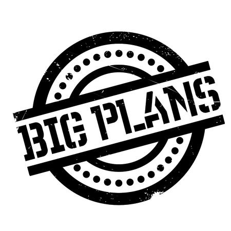 Big Plans rubber stamp. Grunge design with dust scratches. Effects can be easily removed for a clean, crisp look. Color is easily changed. Illustration