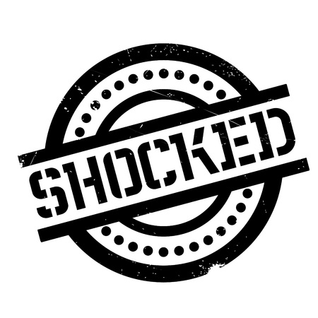 Shocked rubber stamp. Grunge design with dust scratches. Effects can be easily removed for a clean, crisp look. Color is easily changed.