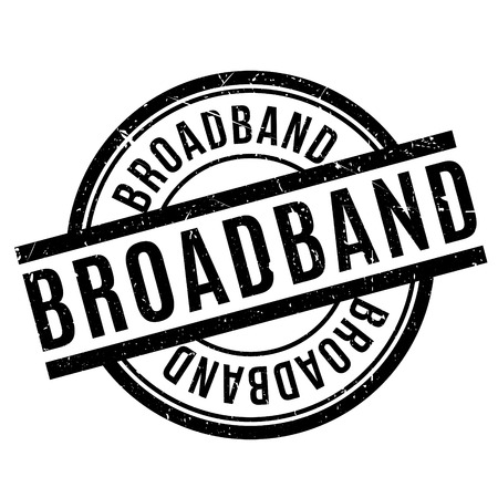 high speed internet: Broadband rubber stamp. Grunge design with dust scratches. Effects can be easily removed for a clean, crisp look. Color is easily changed. Illustration