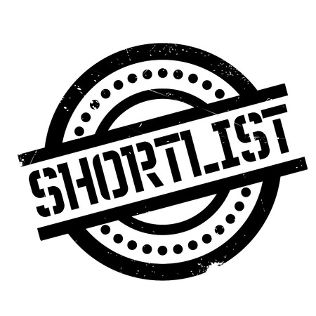 list of successful candidates: Shortlist rubber stamp. Grunge design with dust scratches. Effects can be easily removed for a clean, crisp look. Color is easily changed.