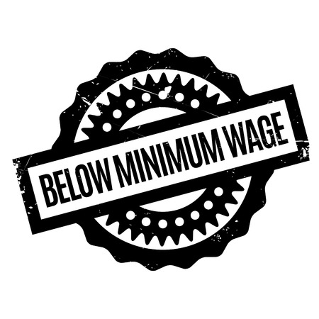 employed: Below Minimum Wage rubber stamp. Grunge design with dust scratches. Effects can be easily removed for a clean, crisp look. Color is easily changed.